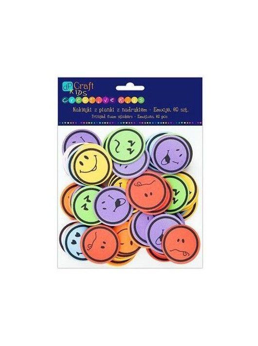 Dekorgumi, öntapadós, smiley, emoji, 60 db-os