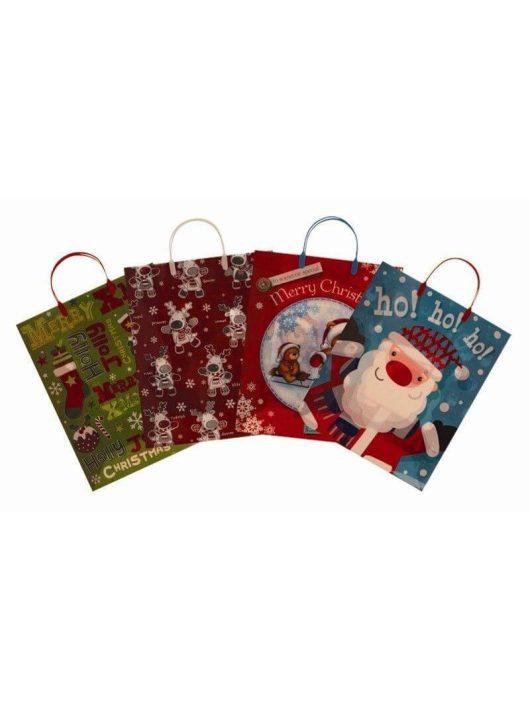 Karácsonyi ajándéktáska 47x32x12 cm, műanyag, 4 féle
