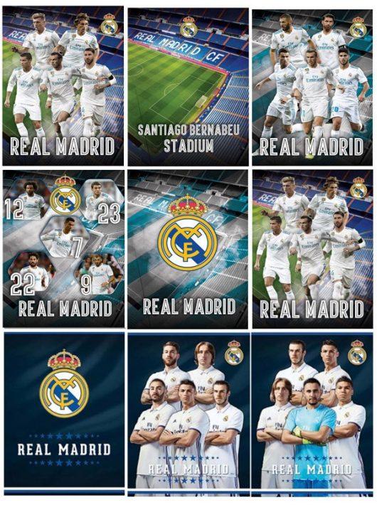 Real Madrid füzet A/4, sima 54 lap, 80g, többféle minta