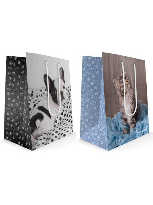 Cicás-kutyás ajándéktáska 23x18x10cm, közepes, Rachael Hale
