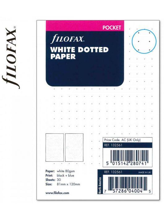 Filofax Pocket jegyzetlapok, 81x120mm, bullet (pontrácsos), 30 lapos, fehér
