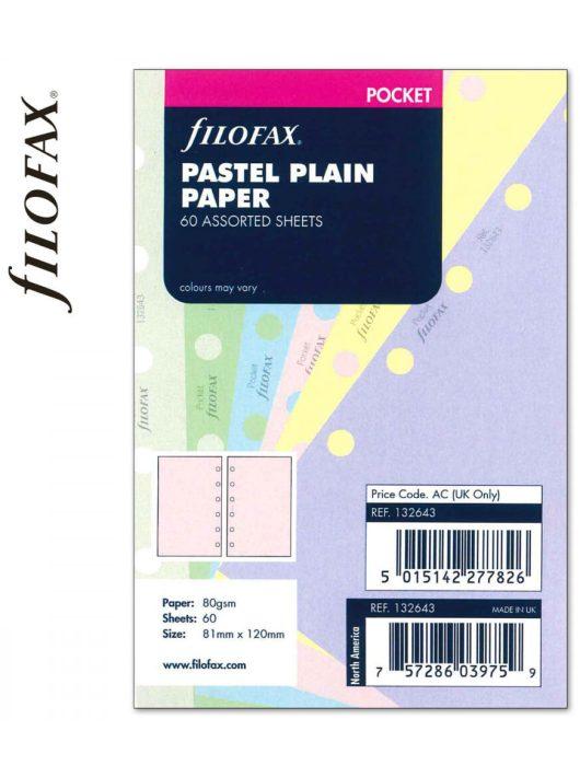 Filofax Pocket jegyzetlapok, 81x120mm, sima, 60 lapos, pasztel