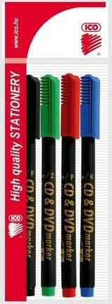 Alkoholos filctoll, ICO CD/DVD marker, 0,5mm, 4 db/csomag