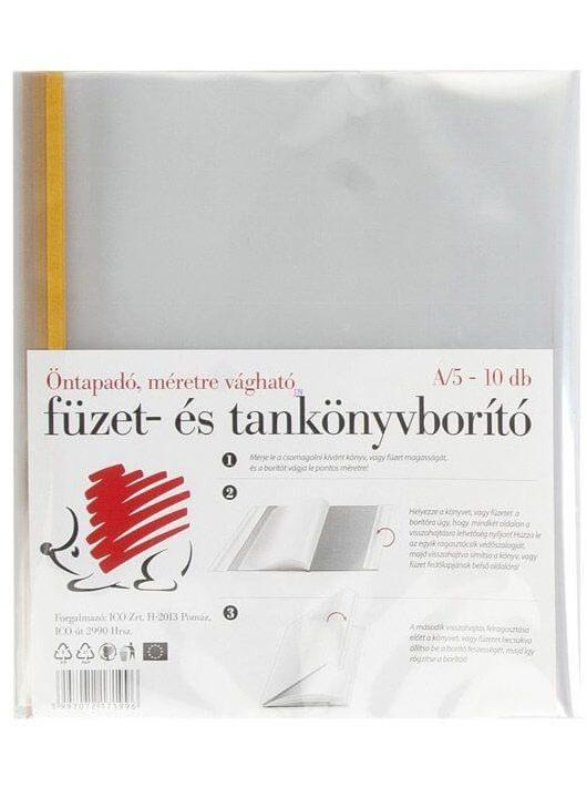 Füzet- és tankönyvborító, A/5, öntapadós csíkkal, 10 db/csomag, Süni