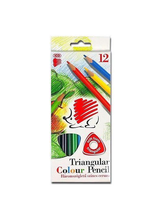 Színes ceruzakészlet, háromszög alakú, ICO Süni, 12 különböző szín
