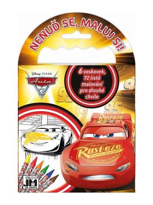Verdák, Cars úti színező 72 lappal és 6 zsírkrétával, 12,5x11,5 cm