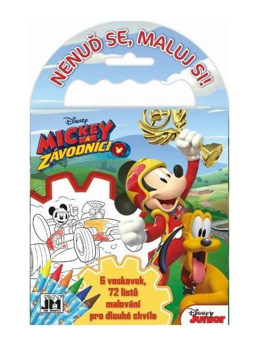 Mickey egér úti színező 72 lappal és 6 zsírkrétával, 12,5x11,5 cm