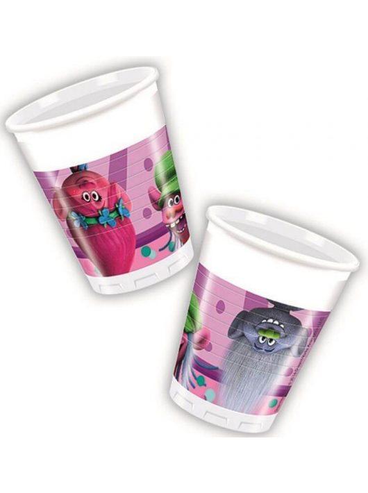 Trolls műanyag pohár, 200ml, 8 db/csomag