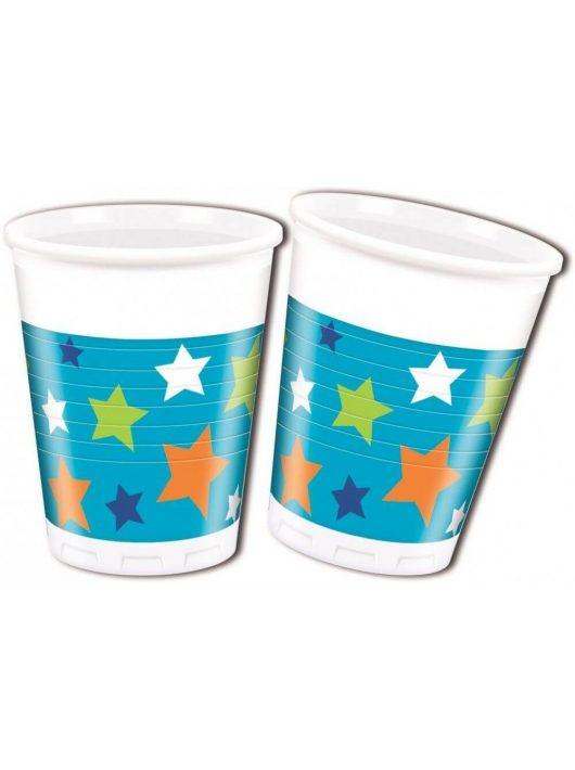 Happy Birthday műanyag pohár, 200ml, 8 db/csomag, fiús