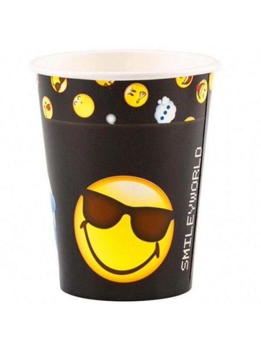 Smiley, emoji papír pohár, 250ml, 8 db/csomag, fekete