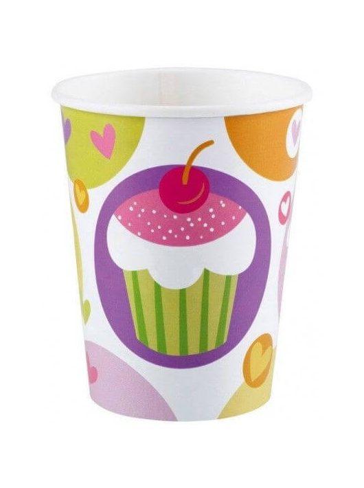 Cupcake, muffin mintás papír pohár, 250ml, 8 db/csomag