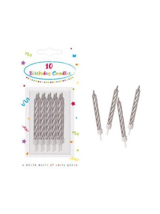 Születésnapi gyertya, 10 db/csomag, Silver, ezüst