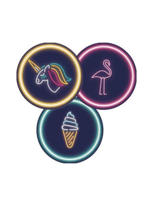 Neon papír tányér, 23cm-es, 8 db/csomag, Unicorn, Flamingó, Ice Cream