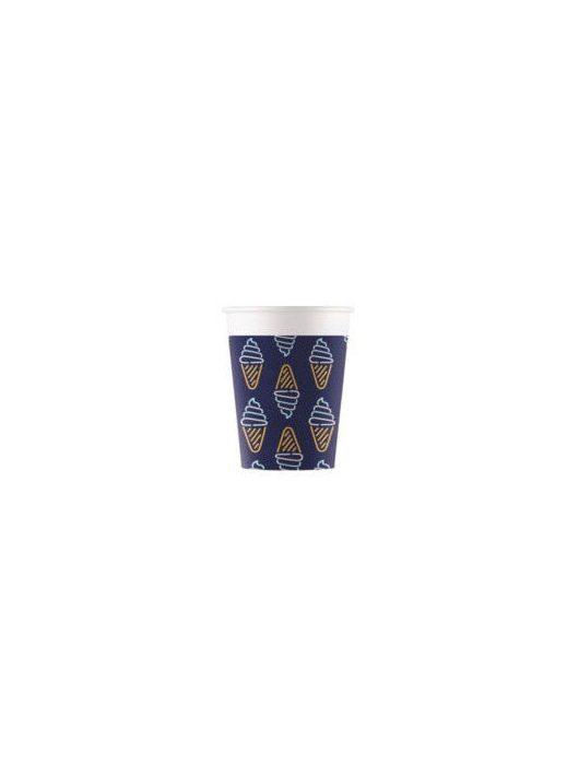 Neon papír pohár, 200ml, 8 db/csomag, Ice Cream
