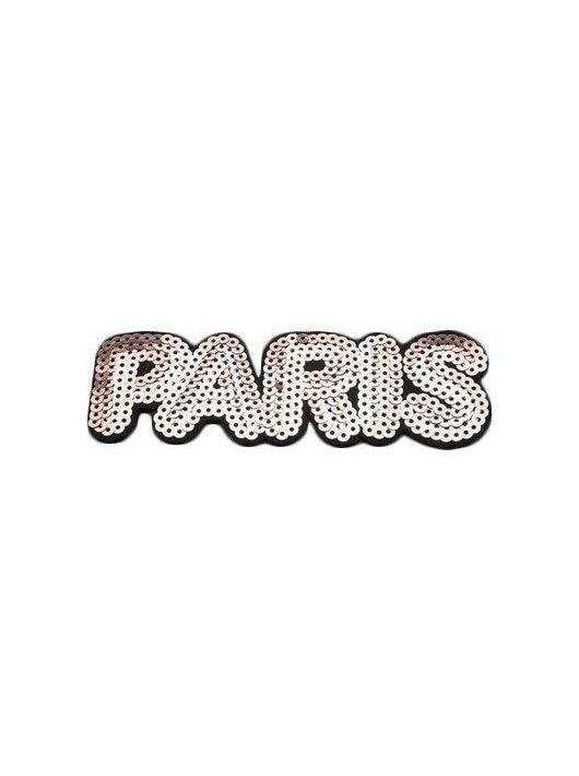 Vasalható textil matrica, Paris, bronz, 14,2x5cm