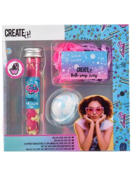 Fürdőszett (fürdőgolyó és fürdőszappan), csillámló galaxis színekkel, relax & spa, 6+, Create it!