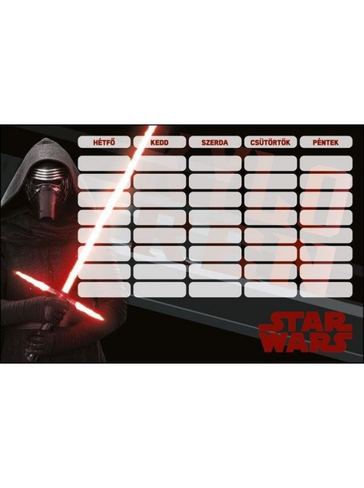 Star Wars órarend 175x115mm, kétoldalas, Kylo-Ren