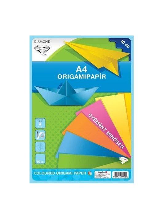 Színes papírok, origami hajtogató lapok A/4, 80g, 10 lap/cs
