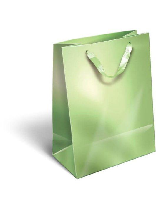 Ajándéktáska 23x18x9cm M, szalagfüles, Perlage, Light Green, zöld