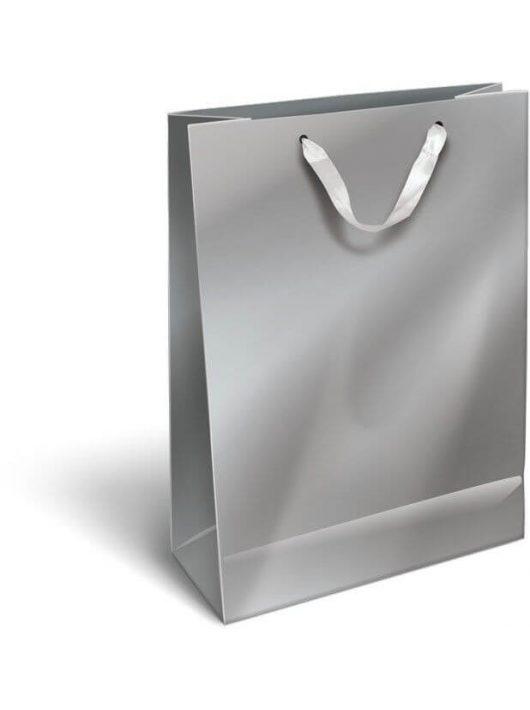 Ajándéktáska 32x24x10cm L, szalagfüles, Perlage, Silver, ezüst