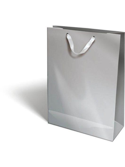 Ajándéktáska 38x28x12cm XL, szalagfüles, Perlage, Silver, ezüst