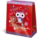 Karácsonyi ajándéktáska 14,5x12,5x7,5cm GSXS Snow Owl