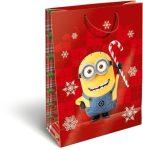 Karácsonyi ajándéktáska 32x24x10cm GSL Minions Candy