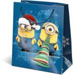 Karácsonyi ajándéktáska 14,5x12,5x7,5cm GSXS Minions Funny