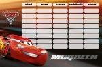 Verdák órarend 175x115mm Cars McQueen