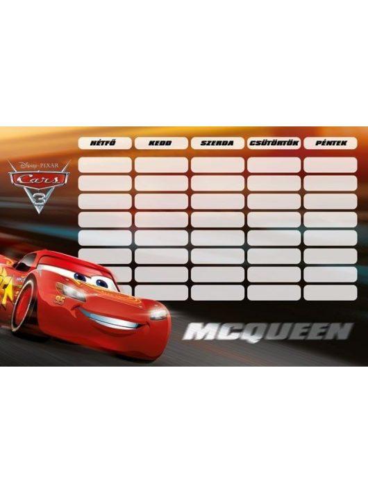 Verdák, Cars órarend 175x115mm, kétoldalas, McQueen