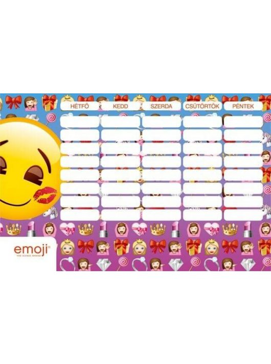 Smiley, emoji órarend nagy 238x155mm, kétoldalas, Girls