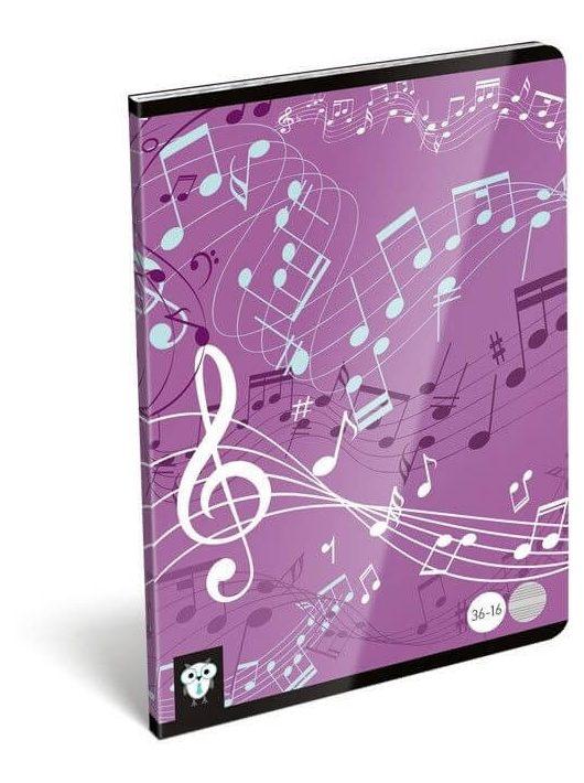 Lizzy Card tűzött füzet A/5, 16 lap hangjegy Music Purple