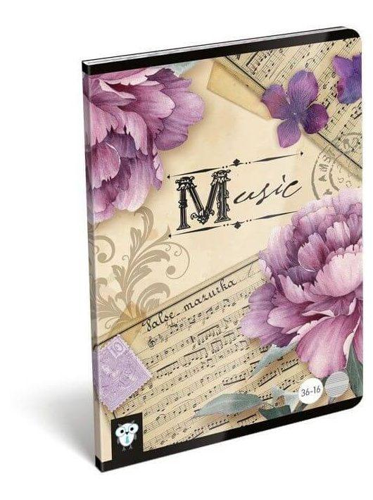 Lizzy Card tűzött füzet A/5, 16 lap hangjegy Music Retro