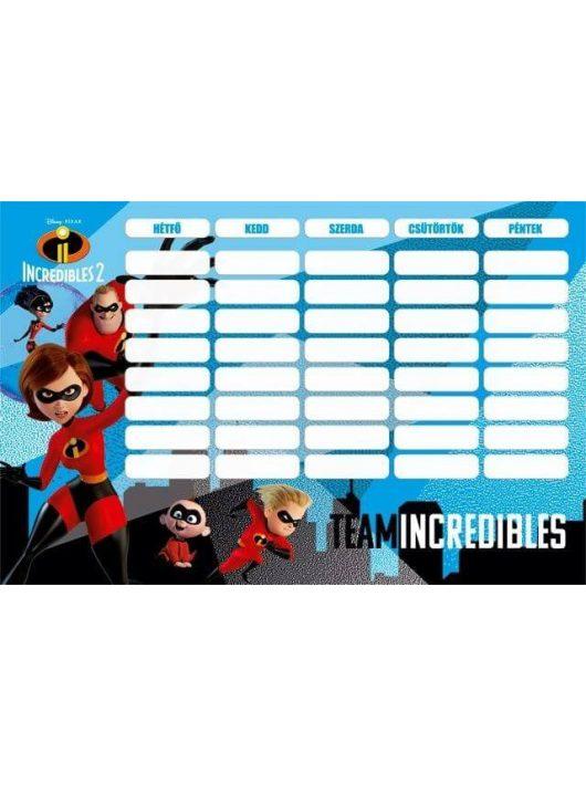 The Incredibles - A hihetetlen család 2. órarend 175x115mm, kétoldalas, The Incredibles 2 Team
