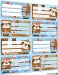 Lajhár füzetcímke íves 8 db/ív Lollipop Sloth Royal