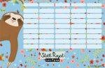 Lajhár órarend nagy 238x155mm Lollipop Sloth Royal