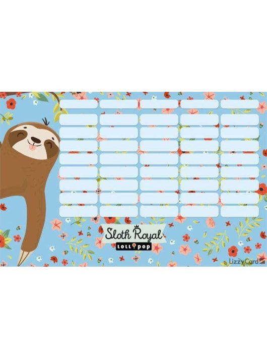 Lajhár órarend nagy 238x155mm, kétoldalas, Lollipop Sloth Royal