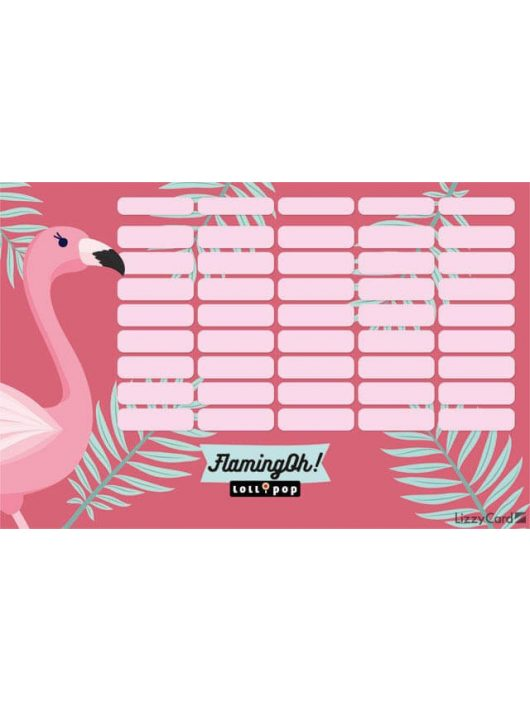 Flamingó órarend nagy 238x155mm, kétoldalas, Lollipop Flaming-Oh