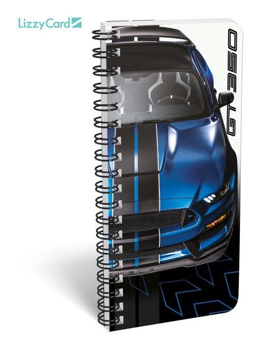 Autós spirál füzet 9x20cm, szótár, Ford Mustang blue