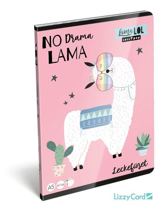 Láma tűzött füzet A/5, 32 lap lecke, Lollipop Lama LOL