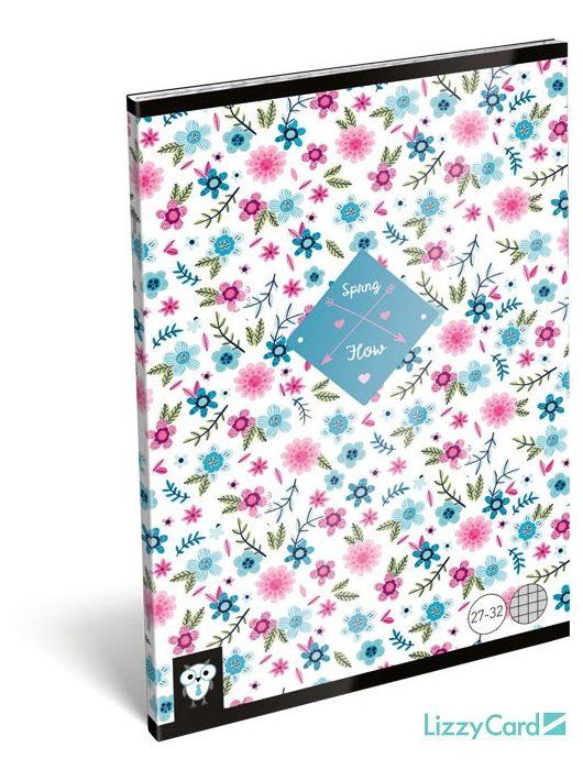 Lizzy Card kis bagoly tűzött füzet A/5, 32 lap kockás, Flower White