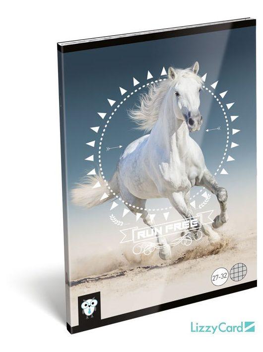 Lizzy Card kis bagoly tűzött füzet A/5, 32 lap kockás, Horse, fehér ló