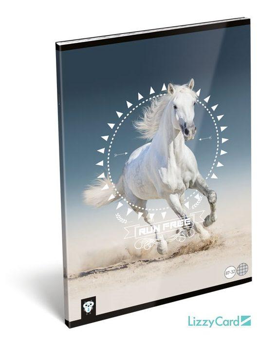 Lizzy Card kis bagoly tűzött füzet A/4, 32 lap kockás, Horse, fehér ló