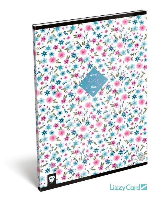 Lizzy Card kis bagoly tűzött füzet A/4, 32 lap vonalas, Flower White