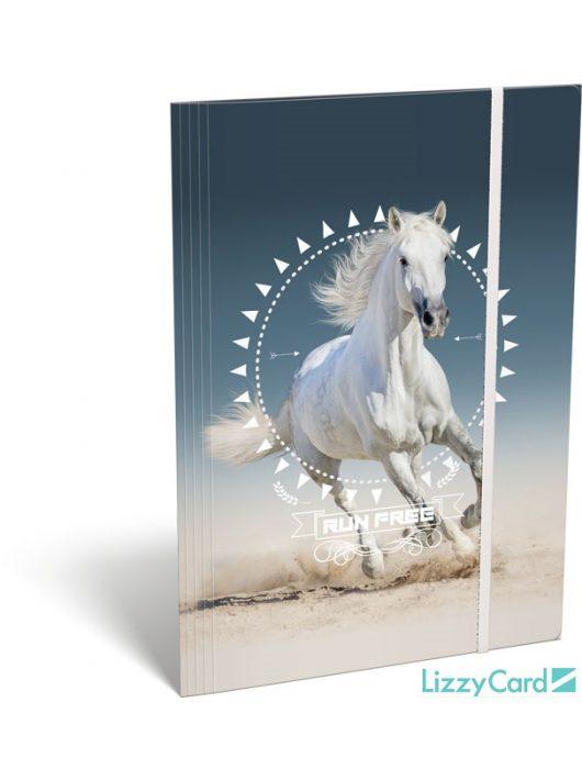 Lizzy Card kis bagoly gumis mappa A/4, Horse, fehér ló
