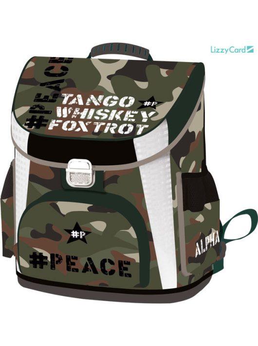Military ergonómikus iskolatáska prémium 39x35x24cm, #Peace Alpha-Tango-Mike