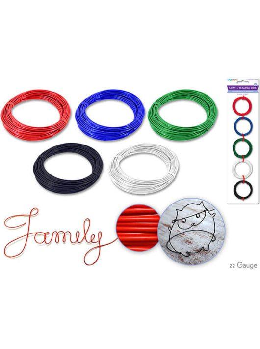 Színes drót készlet, 5 szín, 4m/szín, alap színek