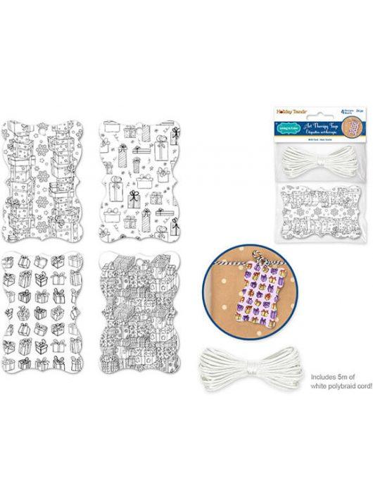 Ajándékkísérő, színezhető, 6x9cm, 24 db/csomag, karácsonyi, ajándékok