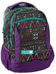 Paso hátizsák 43x31x19cm, lila színű, háromszög mintával