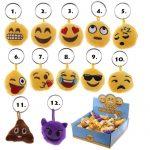 Smiley, emoji kulcstartó, plüss kulcstartó hang effekttel, 4cm,többféle